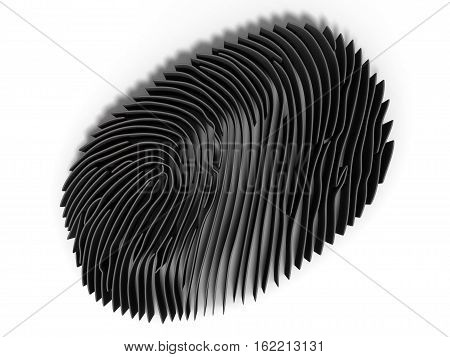 3d render, Study fingerprint through a magnifying glass, concept of criminology and criminal law