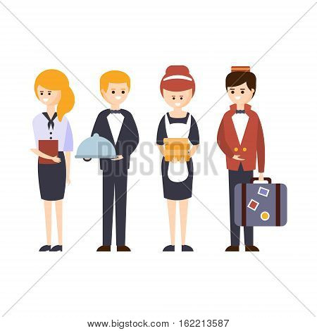 Hotel Staff, Waiter, Bellhop, Administrator And Maid Hotel Themed Primitive Cartoon Illustration. Part Of Inn Clients And Employees Collection Of Situations Vector Flat Drawings.