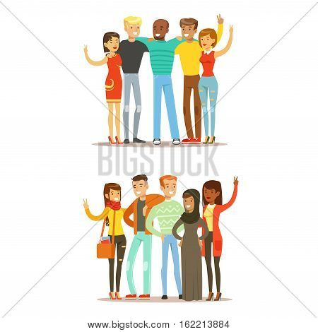Young Friends From All Around The World And Happy International Friendship Vector Cartoon Illustration. People Of Different Nationalities Smiling United Showing Peace Gesture.