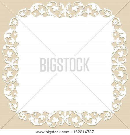 white frame with floral pattern on a beige background. laser cutting template