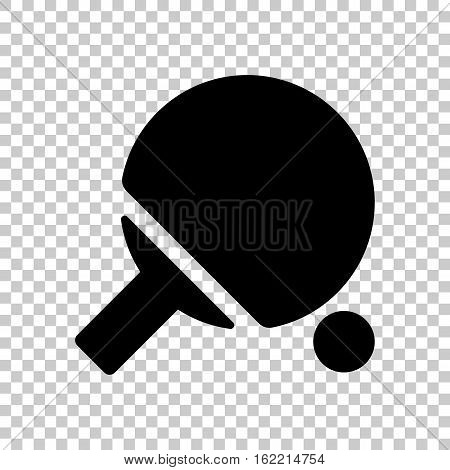 Ping Pong Icon. Black Icon On Transparent Background.