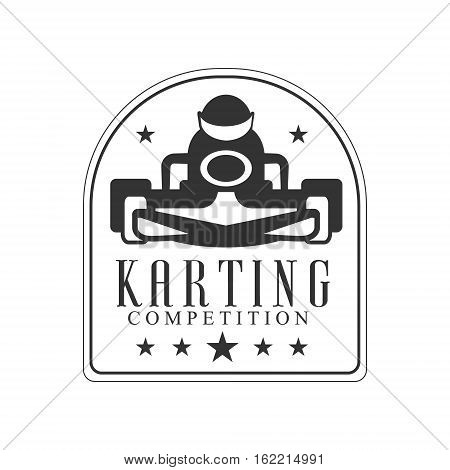Karting Club Race Black And White Logo Design Template With Rider In Kart Silhouette. Monochrome Vector Promo Emblem With Text And Fast Car Print.
