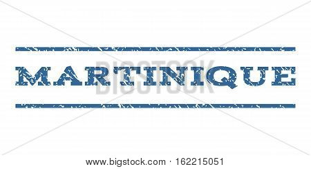 Martinique watermark stamp. Text caption between horizontal parallel lines with grunge design style. Rubber seal stamp with dust texture. Vector cobalt color ink imprint on a white background.