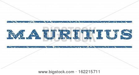 Mauritius watermark stamp. Text caption between horizontal parallel lines with grunge design style. Rubber seal stamp with dust texture. Vector cobalt color ink imprint on a white background.