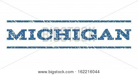 Michigan watermark stamp. Text caption between horizontal parallel lines with grunge design style. Rubber seal stamp with dust texture. Vector cobalt color ink imprint on a white background.