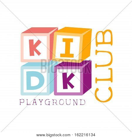 Kids Land Playground And Entertainment Club Colorful Promo Sign With Cubes Constructor For The Playing Space For Children. Vector Template Promotional Logo For The Entertaining Family Center.