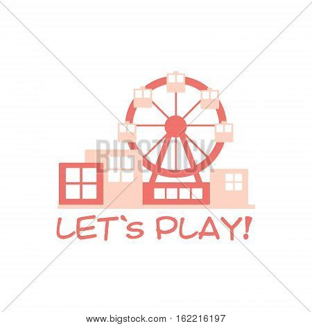 Kids Land Playground And Entertainment Club Colorful Promo Sign With Ferris Wheel For The Playing Space For Children. Vector Template Promotional Logo For The Entertaining Family Center.