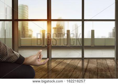 Asian Business Woman Doing Yoga