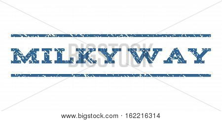 Milky Way watermark stamp. Text caption between horizontal parallel lines with grunge design style. Rubber seal stamp with unclean texture. Vector cobalt color ink imprint on a white background.