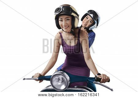 Smiling Two Young Asian Woman Riding The Scooter