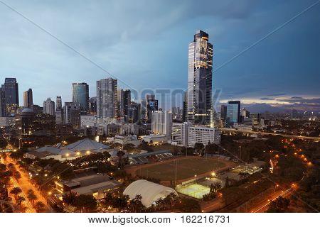 Beautiful Cityscape Skyline With The Mini Stadion Footbal