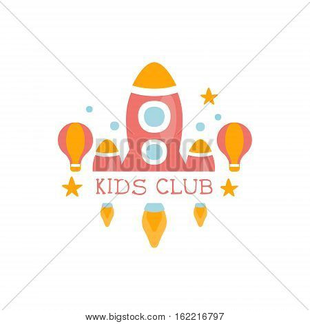 Kids Land Playground And Entertainment Club Colorful Promo Sign With Toy Rocket For The Playing Space For Children. Vector Template Promotional Logo For The Entertaining Family Center.
