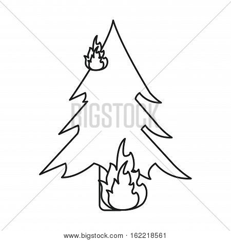 wildfire destroys pines smock line vector illustration eps 10