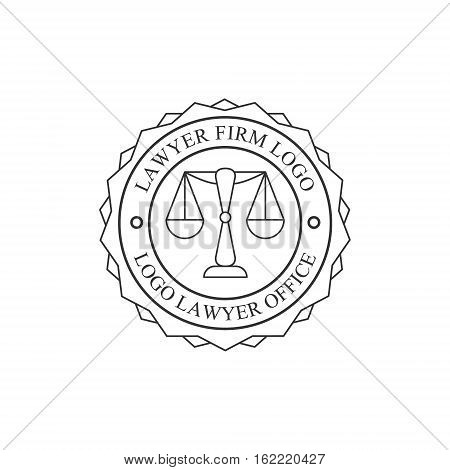 Law Firm And Lawyer Office Black And White Logo Round Stamp Shape Template With Justice Symbol Silhouette. Vector Monochrome Emblem For Premium Class Business Service.