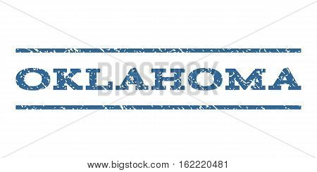Oklahoma watermark stamp. Text tag between horizontal parallel lines with grunge design style. Rubber seal stamp with dirty texture. Vector cobalt color ink imprint on a white background.