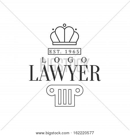 Law Firm And Lawyer Office Black And White Logo Template With Crown And Pillar Justice Symbols Silhouette. Vector Monochrome Emblem For Premium Class Business Service.