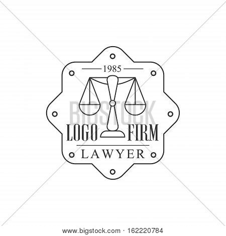 Law Firm And Lawyer Office Black And White Logo Template With Balance Justice Symbol Silhouette. Vector Monochrome Emblem For Premium Class Business Service.