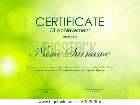 Certificate of achievement template with light green blurred background. Vector illustration