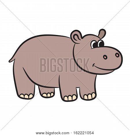 Cartoon hippo. Vector illustration on white background