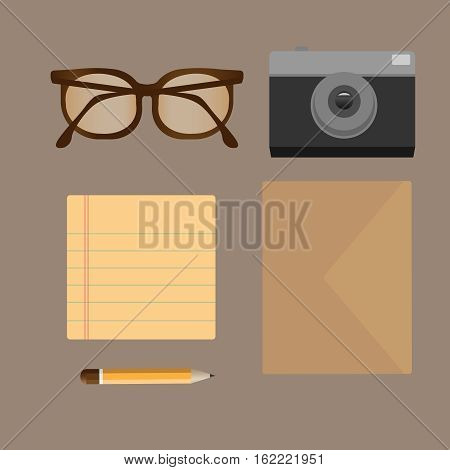 Vector flat set of modern stuff and devices. Flat style design - vector illustration