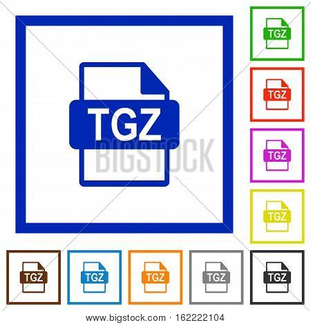 TGZ file format flat color icons in square frames on white background