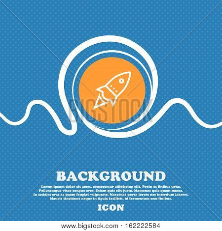 Rocket Icon Sign. Blue And White Abstract Background Flecked With Space For Text And Your Design. Ve