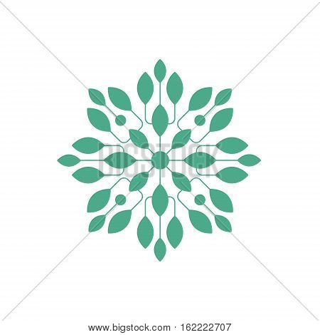 Regular Shape Doodle Ornamental Figure In In Green Color With Plant Leaves Decorative Element. Geometric Repetitive Vector Patten Design For Mosaic Motive Creation.