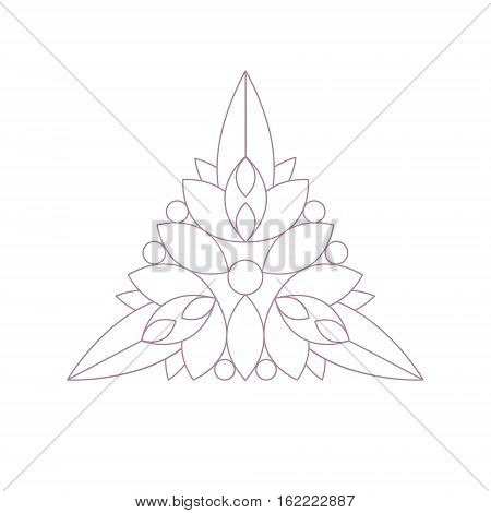 Triangle Shape Doodle Ornamental Figure In Monochrome Color For The Zen Adult Coloring Book Illustration. Geometric Repetitive Vector Patten Design To Color.