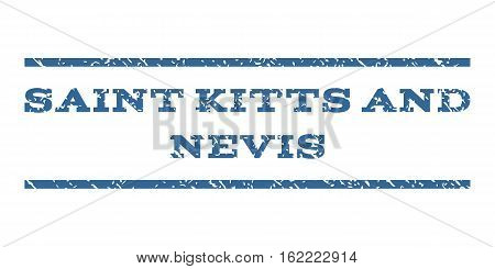 Saint Kitts and Nevis watermark stamp. Text caption between horizontal parallel lines with grunge design style. Rubber seal stamp with dust texture.