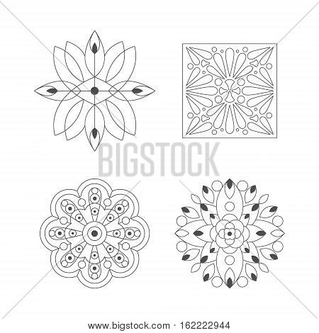 Regular Shape Four Doodle Ornamental Figures In Monochrome Colors For The Adult Coloring Book Set Of Illustrations. Collection Of Geometric Repetitive Vector Patten Designs To Color.