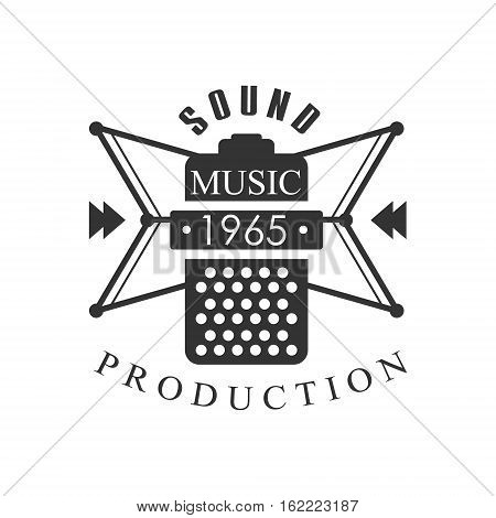 Music Record Studio Black And White Logo Template With Sound Recording Retro Mic Silhouette. Musical Producing Label Vintage Monochrome Emblem With Text Vector Illustration.