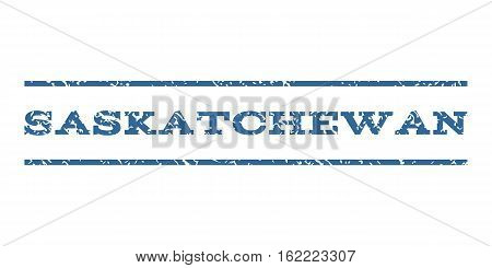 Saskatchewan watermark stamp. Text caption between horizontal parallel lines with grunge design style. Rubber seal stamp with unclean texture. Vector cobalt color ink imprint on a white background.