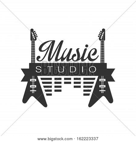 Music Record Studio Black And White Logo Template With Sound Recording Retro Elements Silhouettes. Musical Producing Label Vintage Monochrome Emblem With Text Vector Illustration.