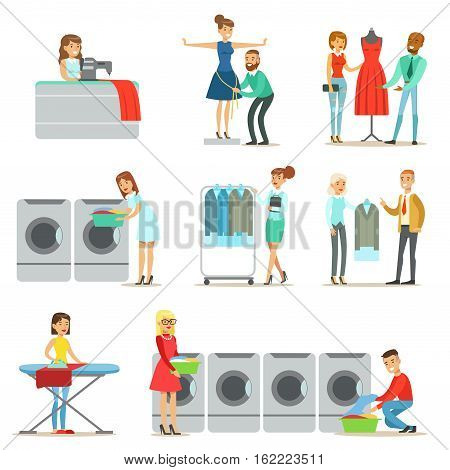 People At The Laundry, Dry Cleaning And Tailoring Service Collection Of Smiling Cartoon Characters. Men And Woman Washing Their Clothes In Washing Machines And Using Designer Help Vector Illustrations.