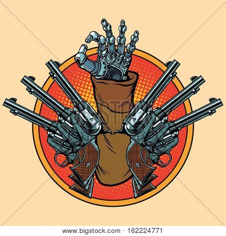 Steampunk robot okay gesture. Pop art retro revolver vector illustration. Western style.