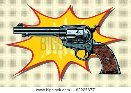 Pop art retro revolver vector illustration. Western style