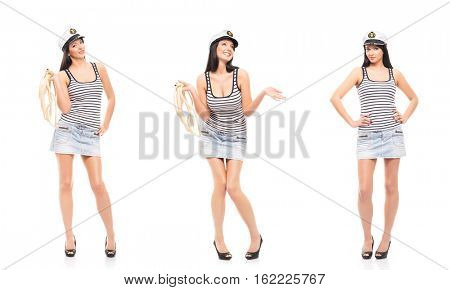 Young, beautiful and sexy sailor girl. Collection set isolated on white background.