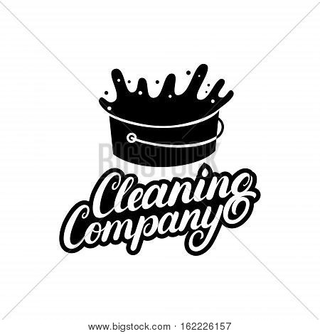 Hand written lettering Cleaning Company logo, label, badge, emblem. Isolated on white background. Vector illustration.