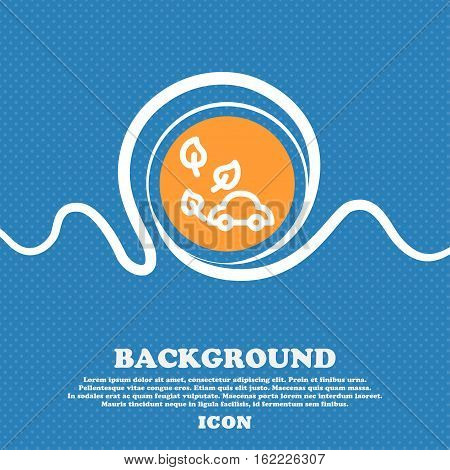 Eco Car Icon Sign. Blue And White Abstract Background Flecked With Space For Text And Your Design. V