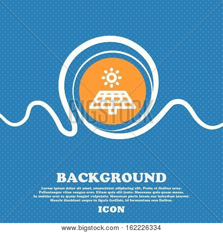Solar Panels Icon Sign. Blue And White Abstract Background Flecked With Space For Text And Your Desi