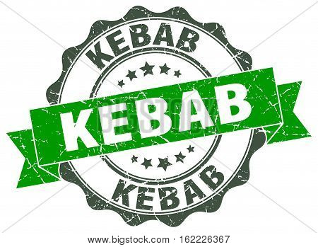 kebab. stamp. sign. seal. round. retro. ribbon