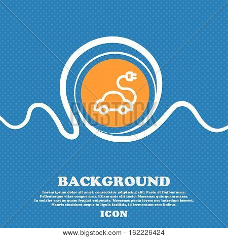 Electric Car Icon Sign. Blue And White Abstract Background Flecked With Space For Text And Your Desi