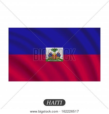 Waving Haiti flag on a white background. Vector illustration