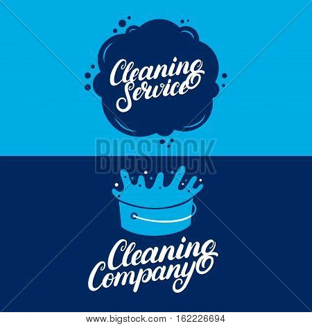Set of hand written lettering Cleaning Service logos, labels, badges, emblems. Isolated on background. Vector illustration.