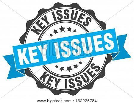 key issues. stamp. sign. seal. round. retro. ribbon