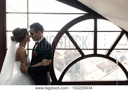 Newlyweds Hug In The Front Of Panoramic Window