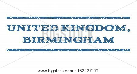 United Kingdom, Birmingham watermark stamp. Text tag between horizontal parallel lines with grunge design style. Rubber seal stamp with scratched texture.