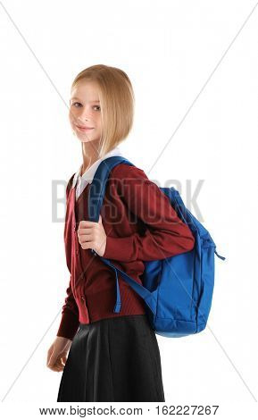Girl with schoolbag isolated on white
