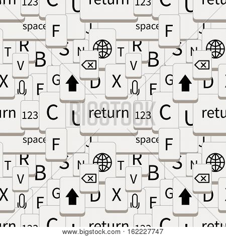A lot of smartphone keyboard white buttons, seamless pattern