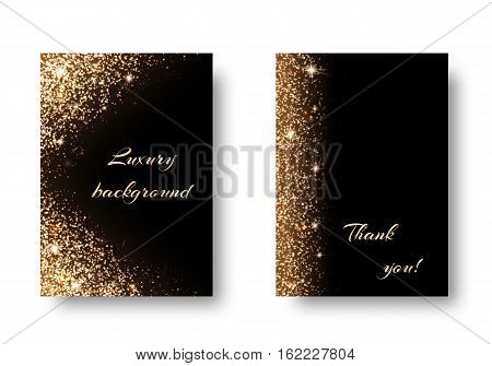 Set of shiny backgrounds with golden light on a dark backdrop. Christmas winter wonderland